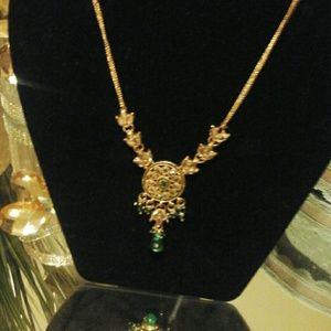 Emerald green kundan arts necklace sterling silver